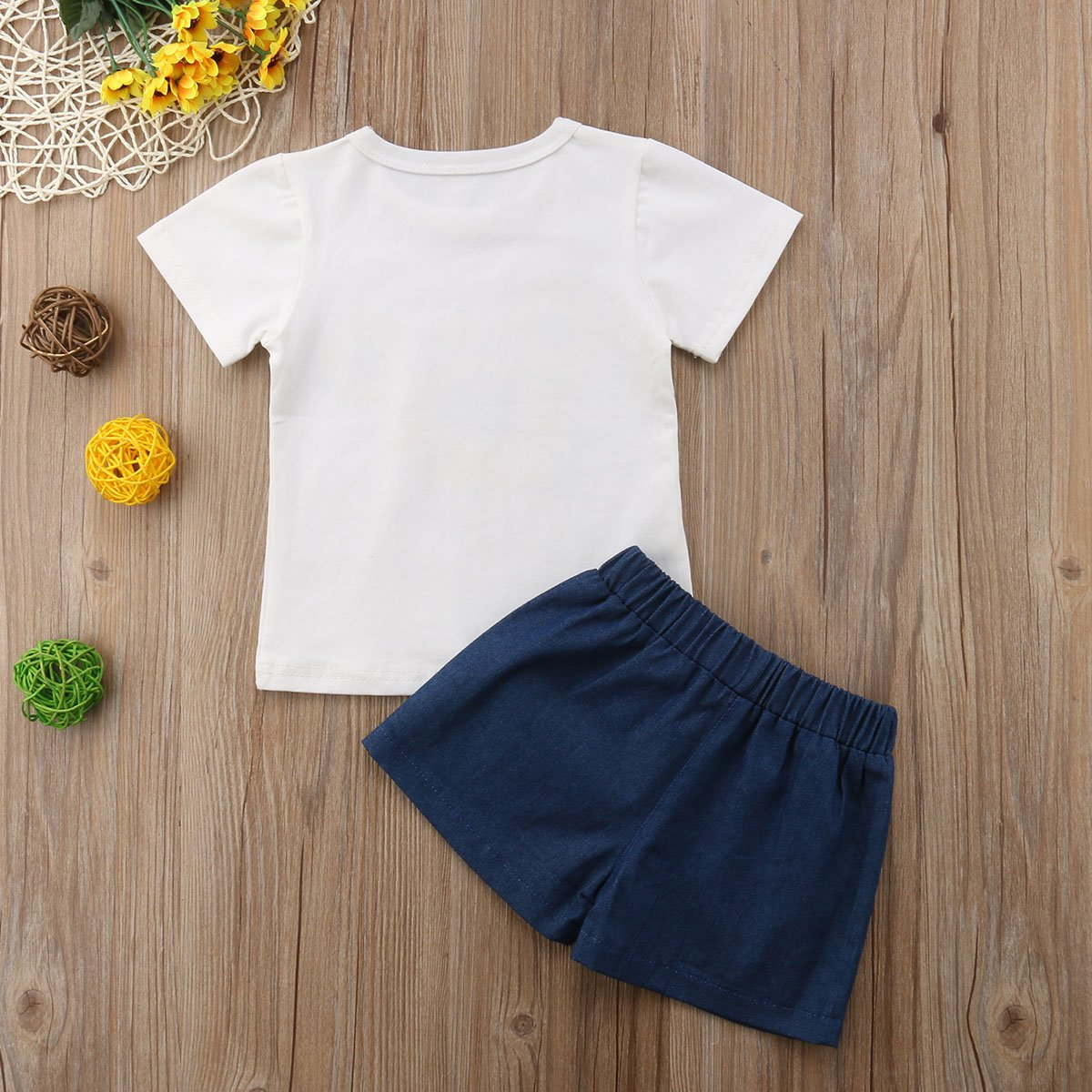 Little Girls 2-Piece Set Sunflower T-Shirt and Pants Children Clothing Summer