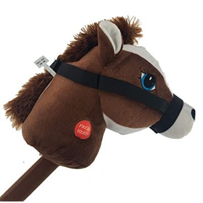 YMCtoys My First Horse, 29 Inch Stick Horse, Giddy-up and Go Pony w/ Real Sound (Brown): Toys & Games