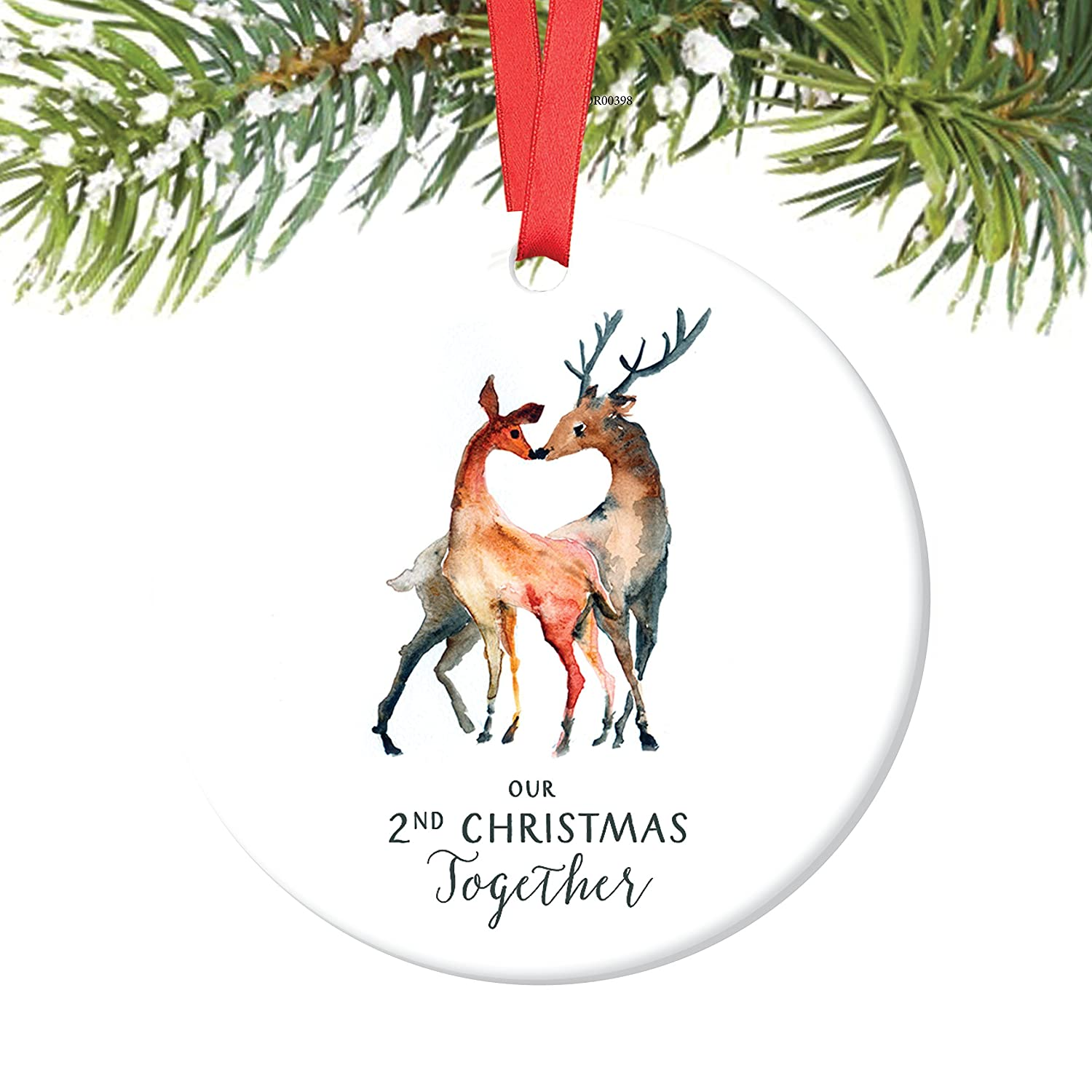 Amazon.com: Our 2nd Christmas Together Ornament, Deer Couple ...