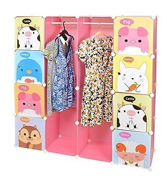 Ts Ideen Kinder Kleiderschrank Garderoben Flur Schrank Badschrank Hoch Regal  In Pink Mit Süßen Motiven