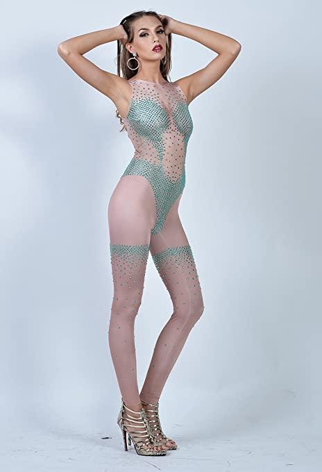 68979a0764cf Amazon.com  Chrismatico Green Crystal Sexy Illusion Sexy Exotic  Bodystocking Bodycon Romper Catsuit Jumpsuit US0-US6  Clothing