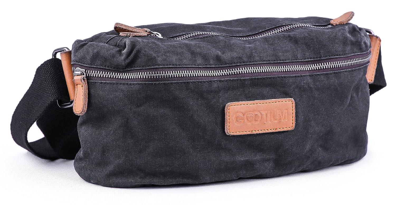 Gootium Crossbody Sling Bag – Canvas Chest Backpack Vintage Fanny Pack, Black