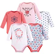 Yoga Sprout Unisex Baby Cotton Bodysuits, Dream Catcher Long Sleeve 5 Pack, 6-9 Months (9M)
