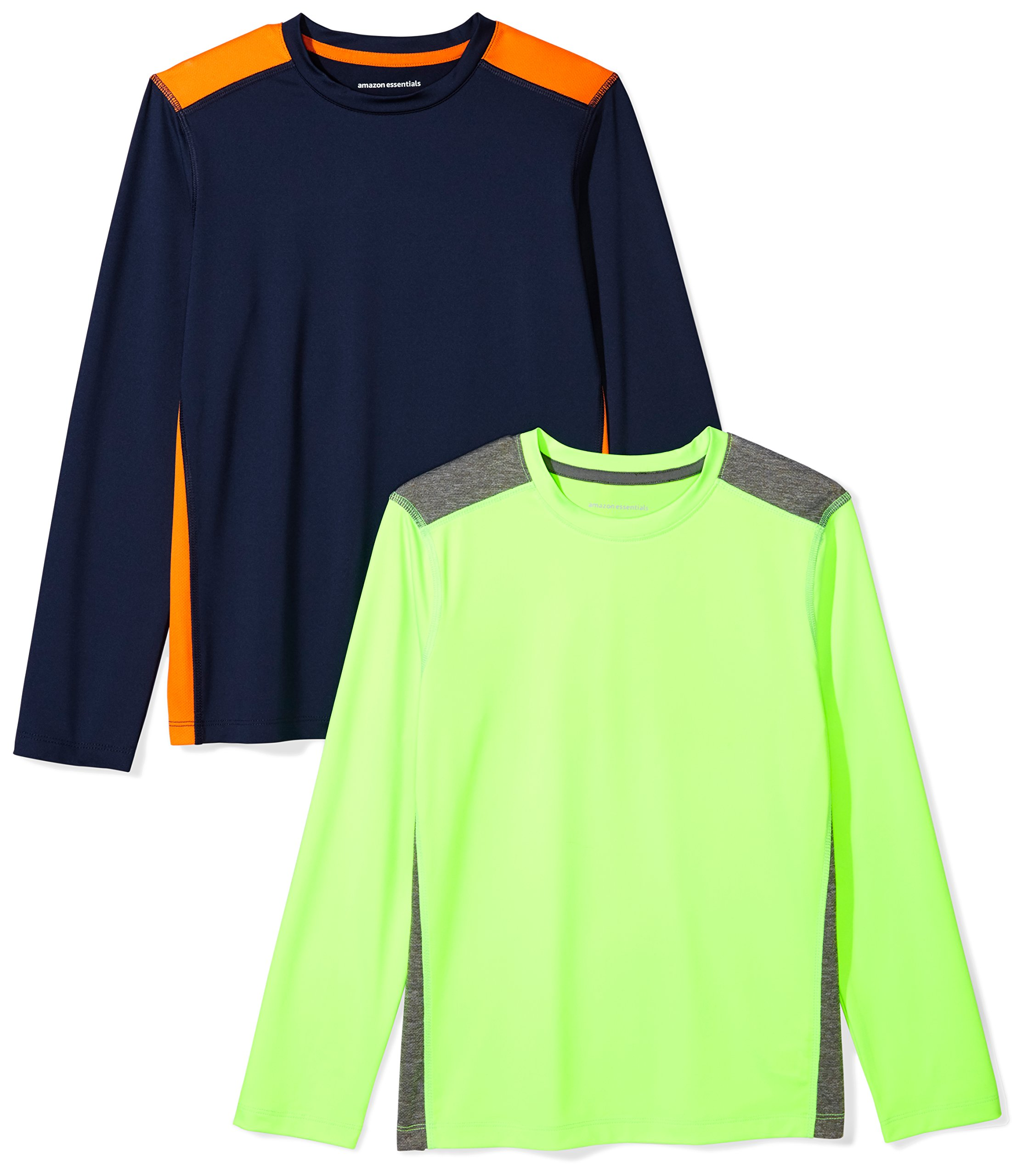 Amazon Essentials Boys' 2-Pack Long-Sleeve Pieced Active Tee, Green/Orange, M