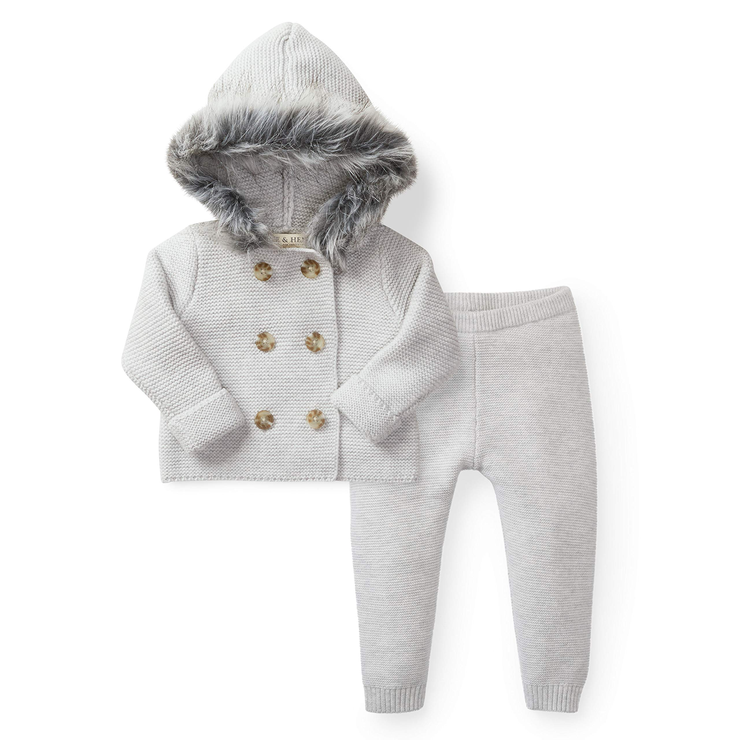 Hope & Henry Layette Grey Two Piece Sweater Set with Faux Fur Hood by Hope & Henry