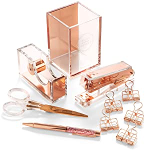 Rose Gold Desk Accessories & Stylish Office Supplies - 10-Piece Desk Set for Rose Gold Office, Home, Work, Writing, and Project Organizer - Comes with Cute Stapler, Pen, Scissors and Tape Dispenser