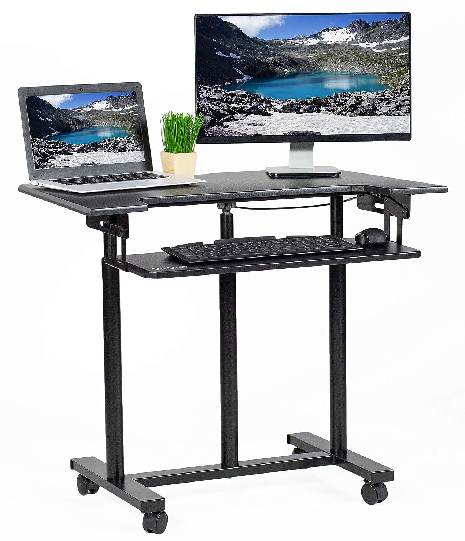 VIVO Mobile Height Adjustable Table Stand Up Desk Cart with Sliding Keyboard Tray | Computer Workstation Rolling Presentation Cart (CART-V06A)