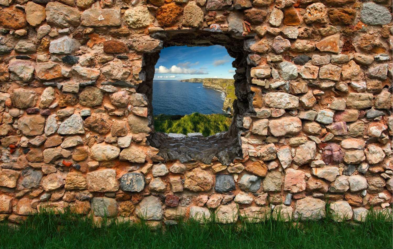 Dalinda® Vliestapete Fototapete in 3D-Optik Irland NEU Tapete Designtapete Steinmauer mit Gras VT022