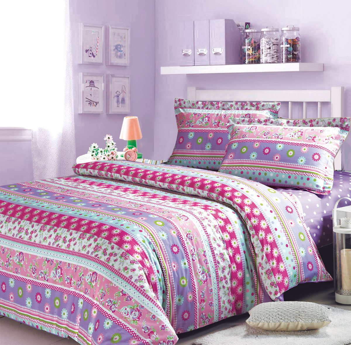 Angel In The Spring Duvet Cover Set Purple Girls Bedding Kids Bedding, Full Size