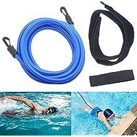 Jsdoin imboxs Nadador Estático,Cinturón de natación Ajustable para Piscinas de natación, Goma elástica natación con un…