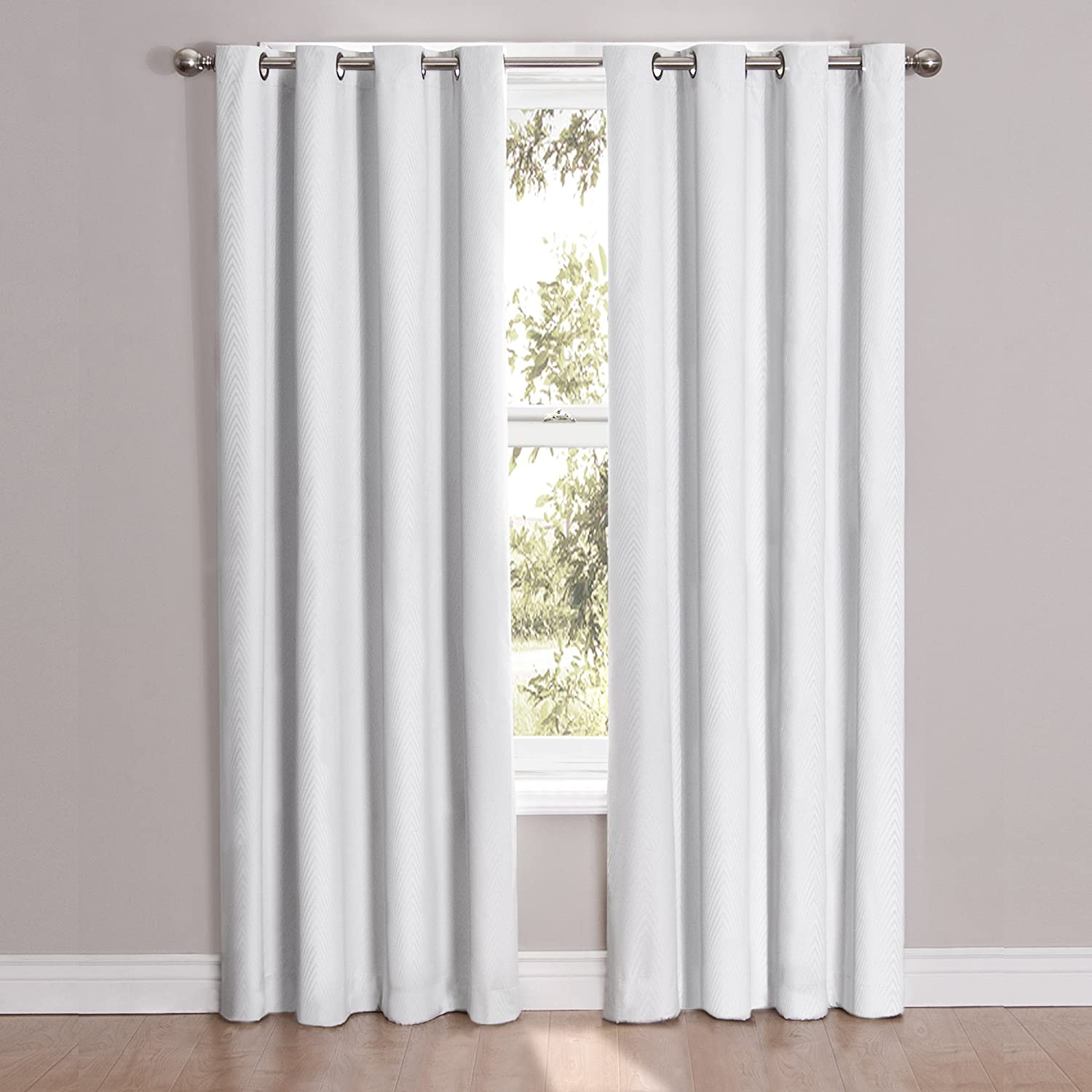 Amazon Eclipse 12423052063WHI Cassidy 52 Inch By 63 Blackout Grommet Single Window Curtain Panel White Reflects Grey Home Kitchen