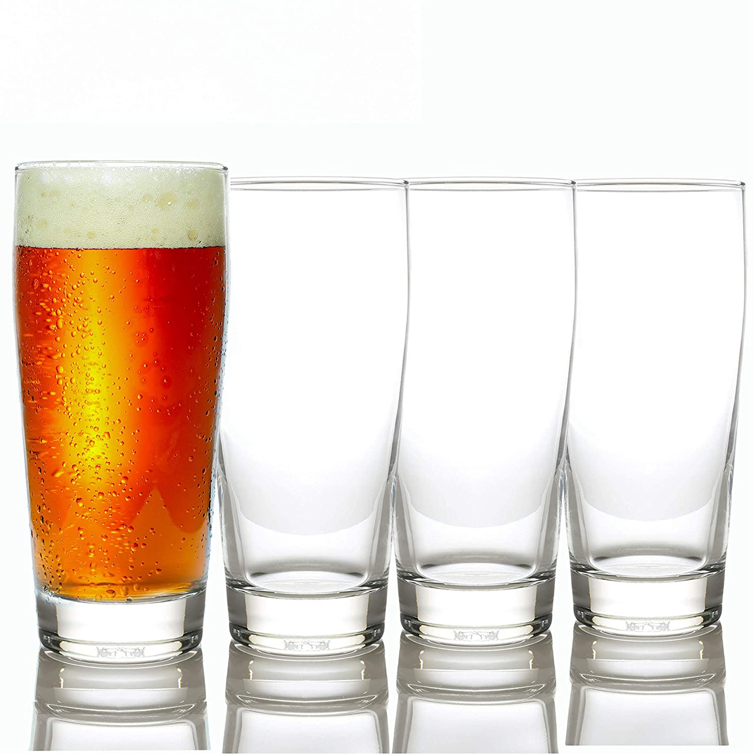 Taylor'd Milestones Premium Beer Glasses - 16 oz Stackable Set of 4, Heavy Base for Stability and Freshness, Durable Glassware for Everyday Use & Home Bars. Bilboa