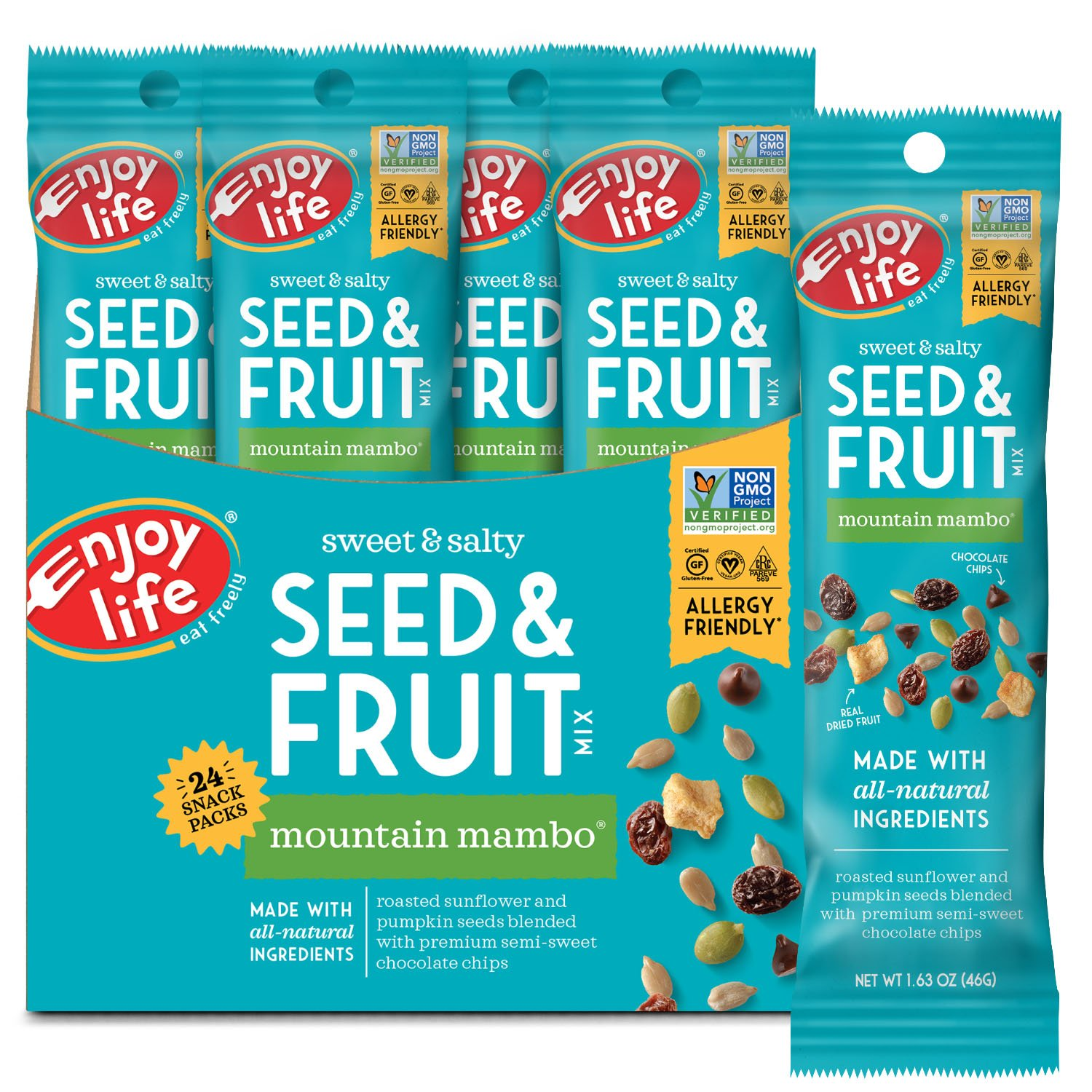 Enjoy Life Seed & Fruit Mix, Soy-free, Nut-free, Gluten-free, Dairy-free, Non-GMO, Vegan, Mountain Mambo, 1.63 Ounce Bags (Pack of 24)