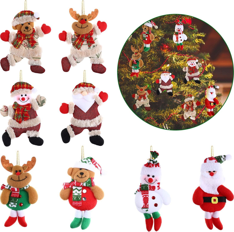 8 Pieces 3D Christmas Tree Plush Ornaments Santa Clause Snowman Reindeer Bear Plush Toys Decoration for Christmas Tree Party