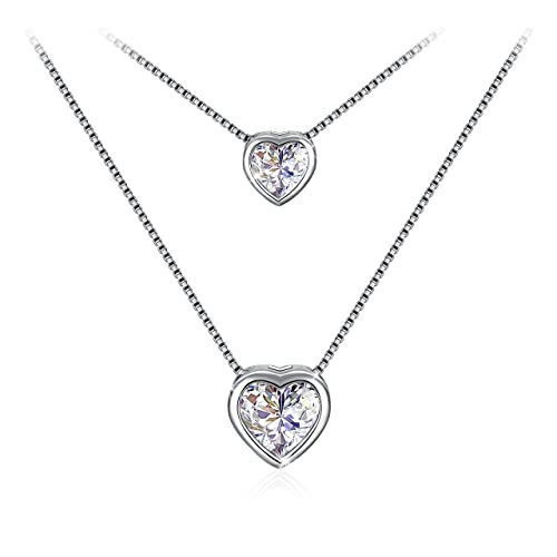 925 Sterling Silver Double Layer Heart Necklace Pendant Blue Cubic Zirconia Necklace for Women Best Gift for Women QfddoeLE0