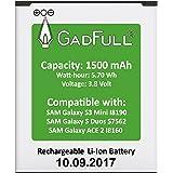 GadFull Batería para Samsung Galaxy S3 mini   Fecha de fabricación del 2017   Corresponde al original EB-F1M7FLU   Modelo de Smartphone Galaxy Ace 2 i8160   Galaxy S3 mini i8190   Galaxy S Duos S7562   Perfecto como batería de repuesto