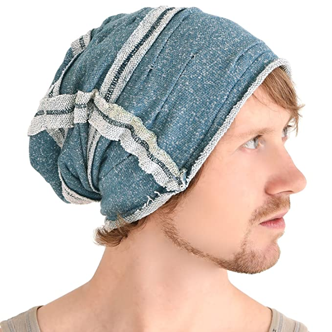 6984becb1558 Casualbox All Season Reversible Slouch Beanie Hat Mens Womens Slouchy Baggy  Beanie Cotton Blue
