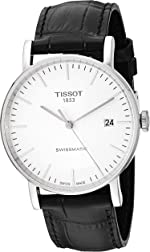 Tissot Men's Everytime Stainless Steel Swiss Automatic Leather Calfskin Strap, Black,