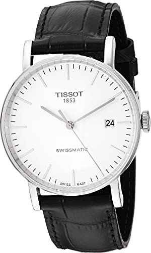 Tissot Men's Everytime Stainless Steel Swiss Automatic Leather Calfskin Strap, Black, 21 Casual Watch (Model: T1094071603100)