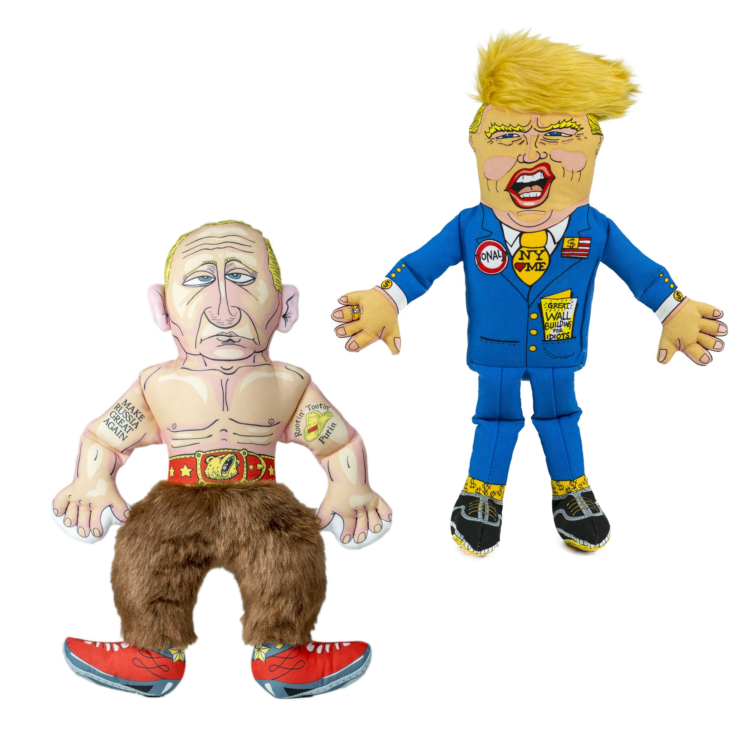 FUZZU Collusion Duo Political Parody (Donald Trump and Vladimir Putin) Dog Toys with Squeaker - Small to Large Dog (17'') by FUZZU