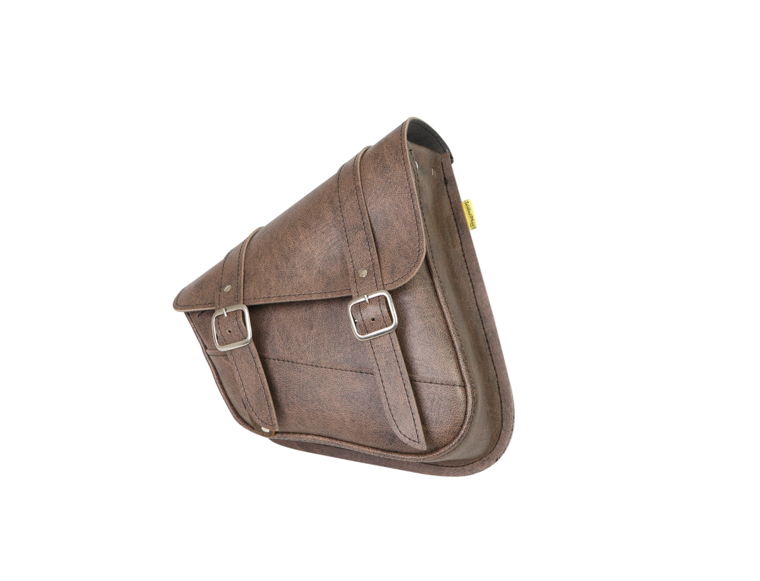 Willie & Max by Dowco 59779-00 Synthetic Leather Swingarm Bag: Brown, Fits Dual Shock Bikes/Sportster/Yamaha Bolt, 9 Liter Capacity