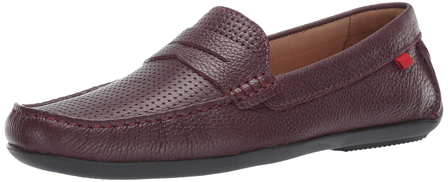 Wine Grainy Perforated MARC JOSEPH NEW YORK Mens Mens Genuine Leather Union Street Driver Loafer