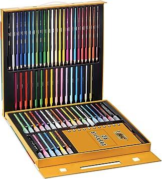 BIC Kids Activity Case Estuche Para Colorear - 24 Lápices de Colores /24 Rotuladores /16 Ceras y 36 Adhesivo – Actividades creativas para niños: Amazon.es: Oficina y papelería