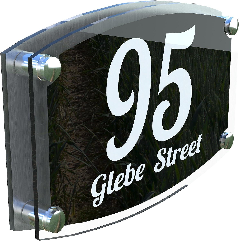 ESTA4-1WB MODERN HOUSE SIGN PLAQUE DOOR NUMBER STREET GLASS EFFECT ACRYLIC ALUMINIUM NAME
