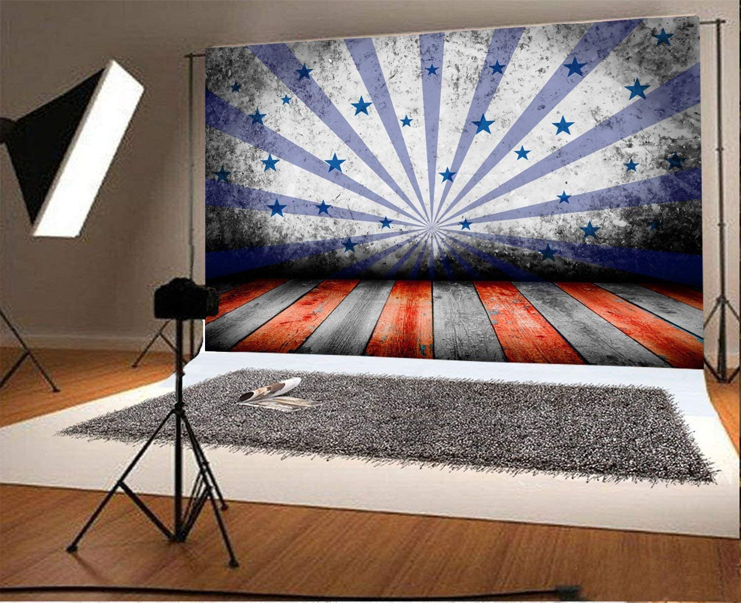 7x5ft Vinyl Photography Backdrop USA Style Background Star Wall and Color Stripe Wood Floor Scene Photo Background Children Baby Adults Portraits Backdrop