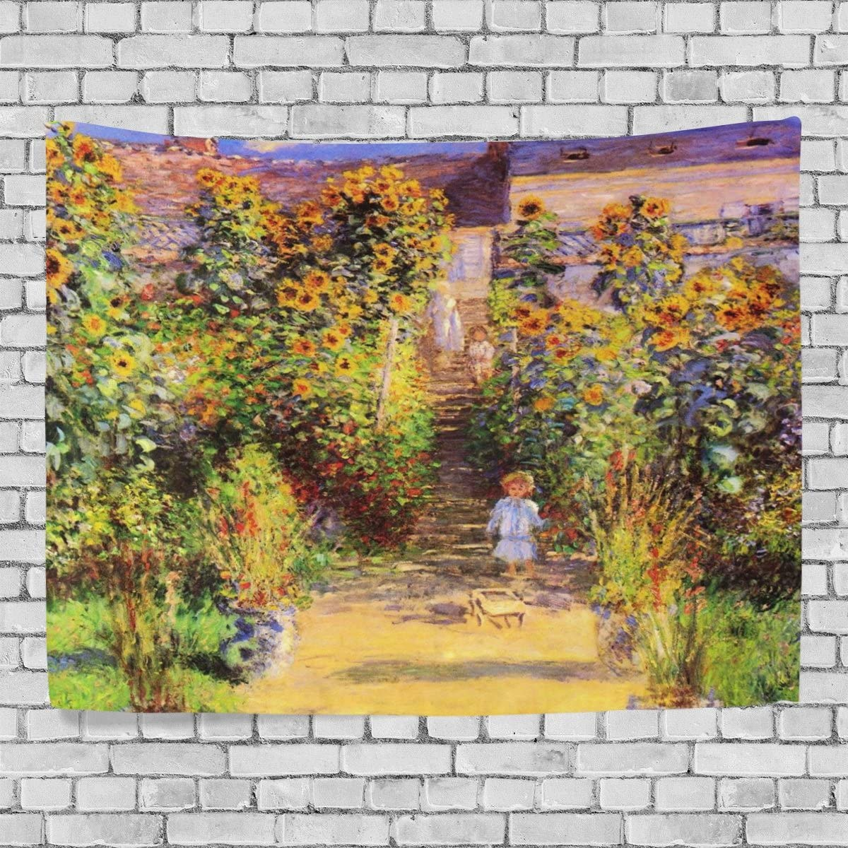 JSTEL Home Fashion Custom Monet Painting Tapestry Wall Decor Living Room, Throw Bedspread, Dorm Tapestries DIY 80 x 60 inches