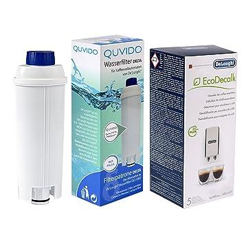 QUVIDO - 1 x Filtro de agua Delta para DeLonghi cafeteras + Antical dlsc500 ecodecalc 500 ml: Amazon.es: Hogar