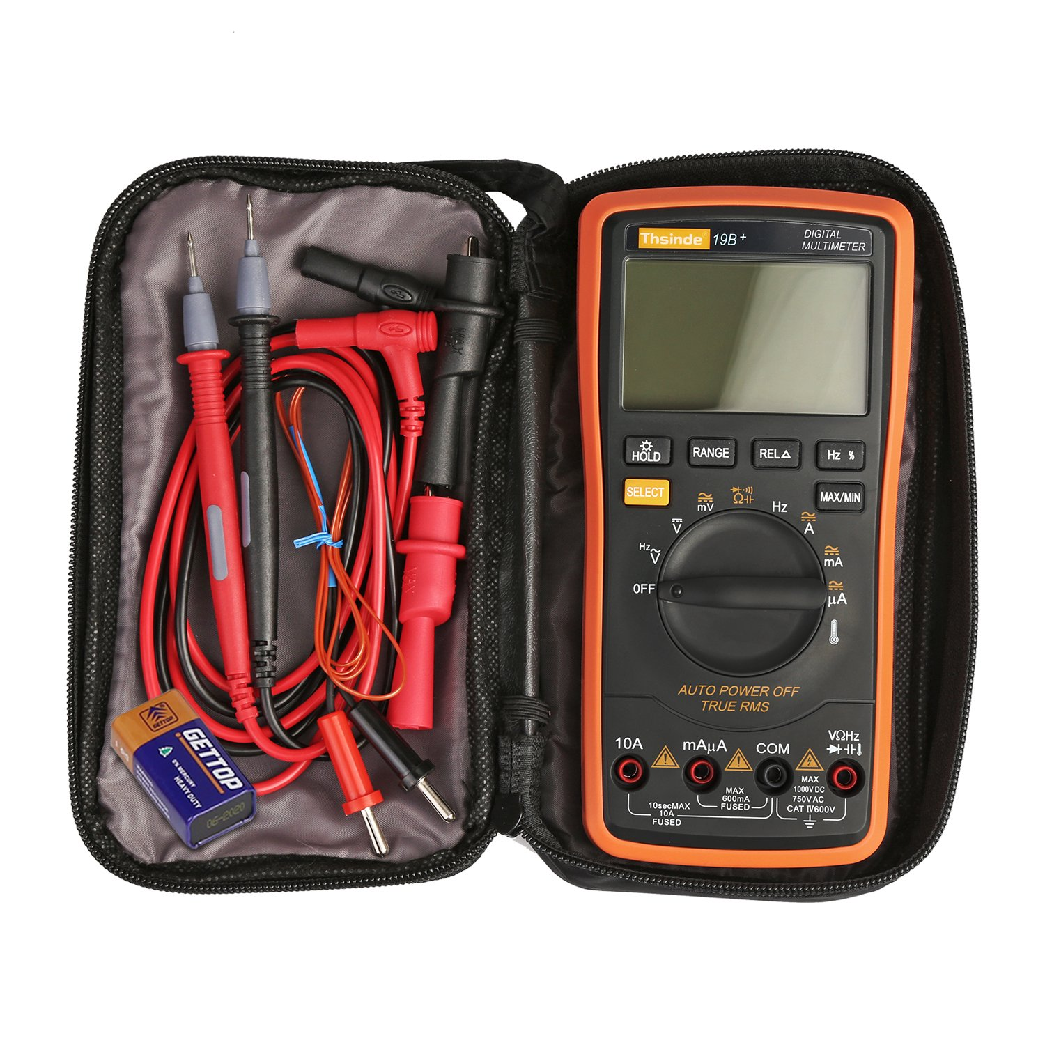 Thsinde Auto Ranging Digital Multimeter, Measures,Voltage, Current,  Resistance, Continuity, Capacitance, Frequency, tests Diodes Transistors,