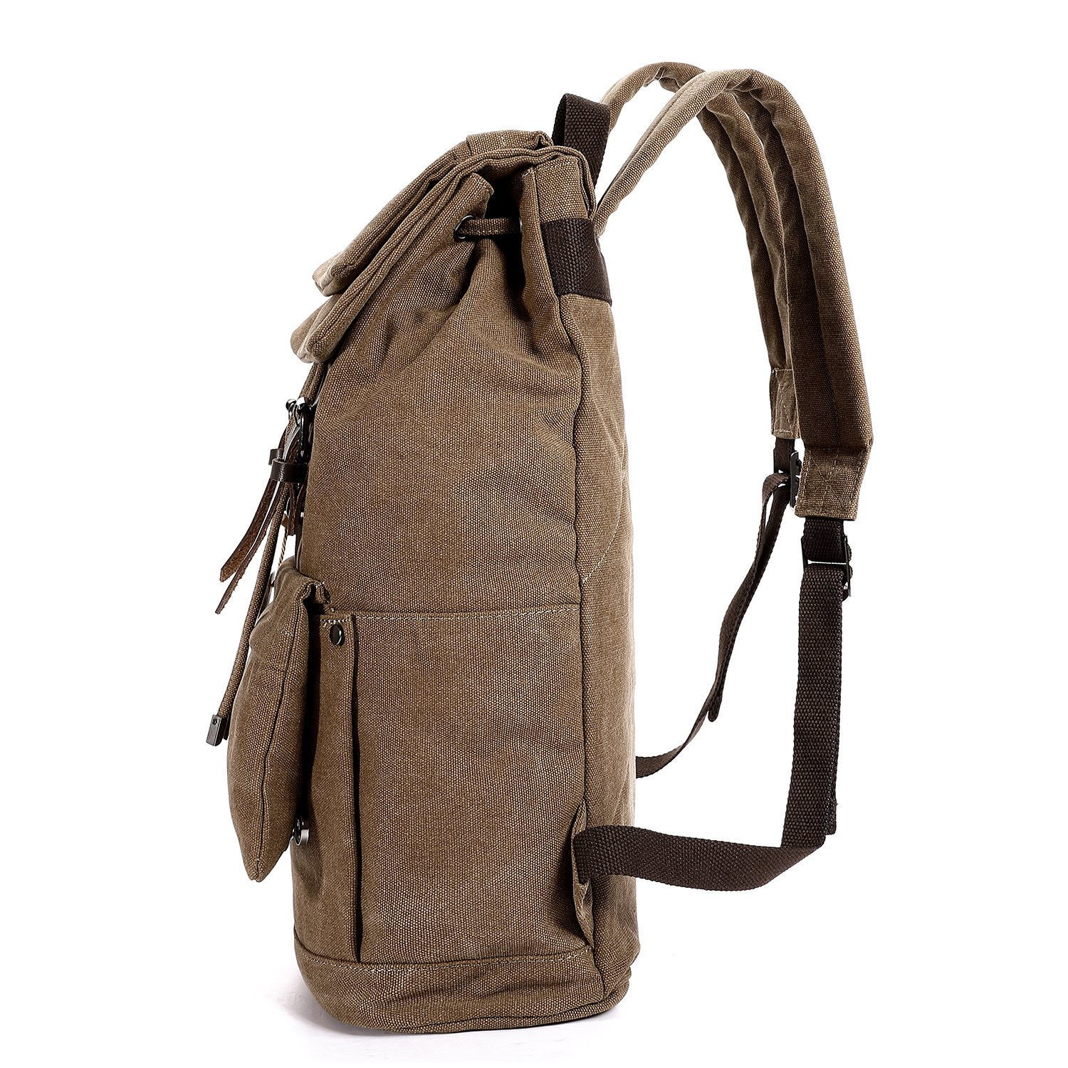 Vintage Canvas Backpack, Fresion Travel Rucksack School Bag Stylish Satchel Computer Laptop Bags fits up 14'' for Boys and Girls, Brown
