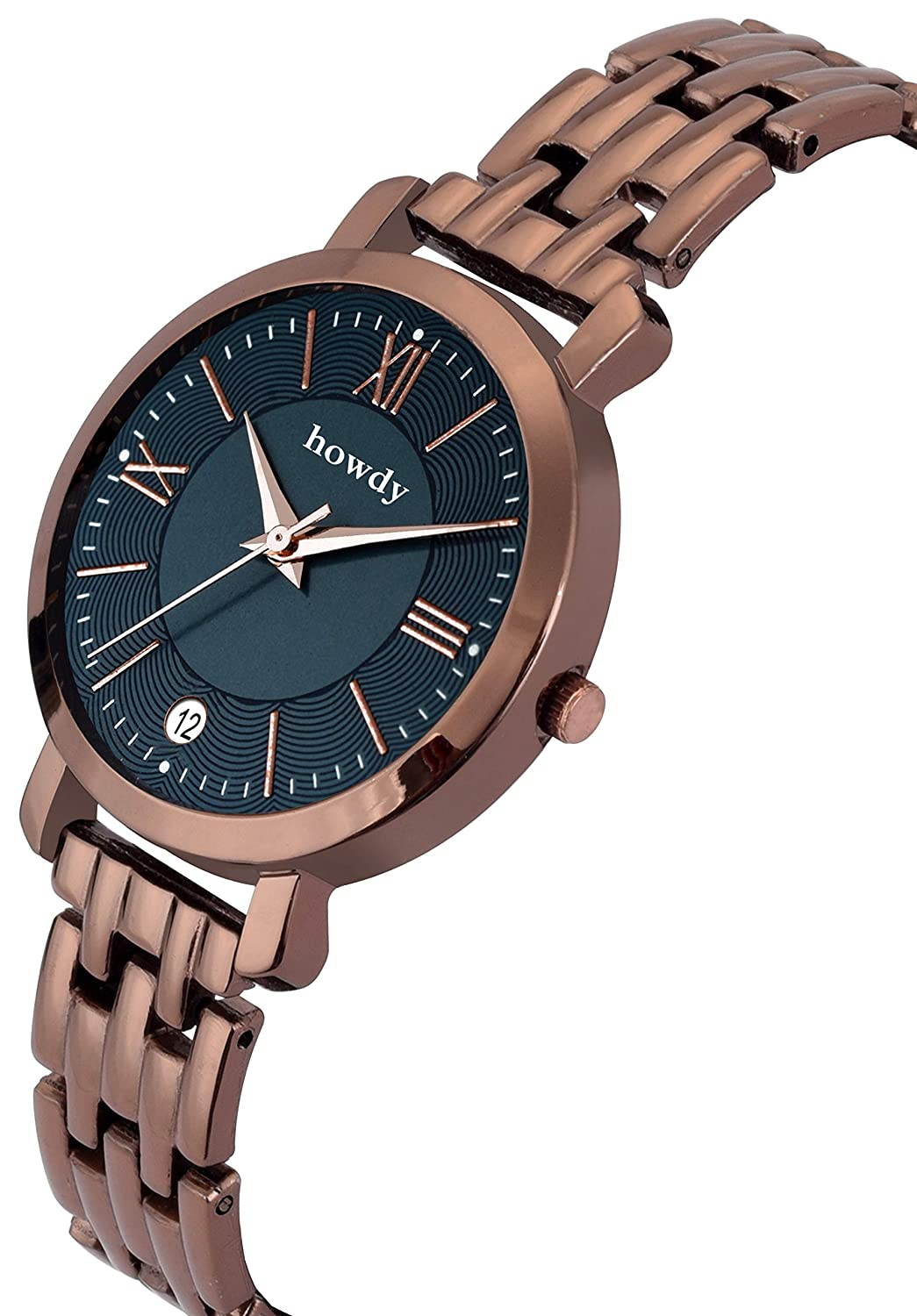 Howdy Stylish Brown Stainless Steel,Date Watch for Women & Girls@Rs277