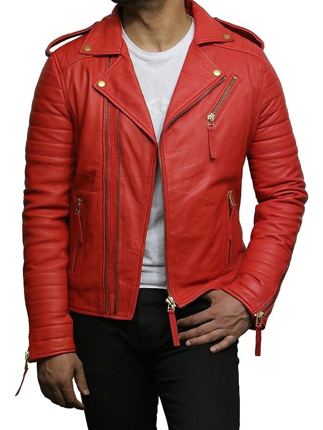 Brandslock Mens Leather Jacket Brando Premium Lamb Skin Slim ...