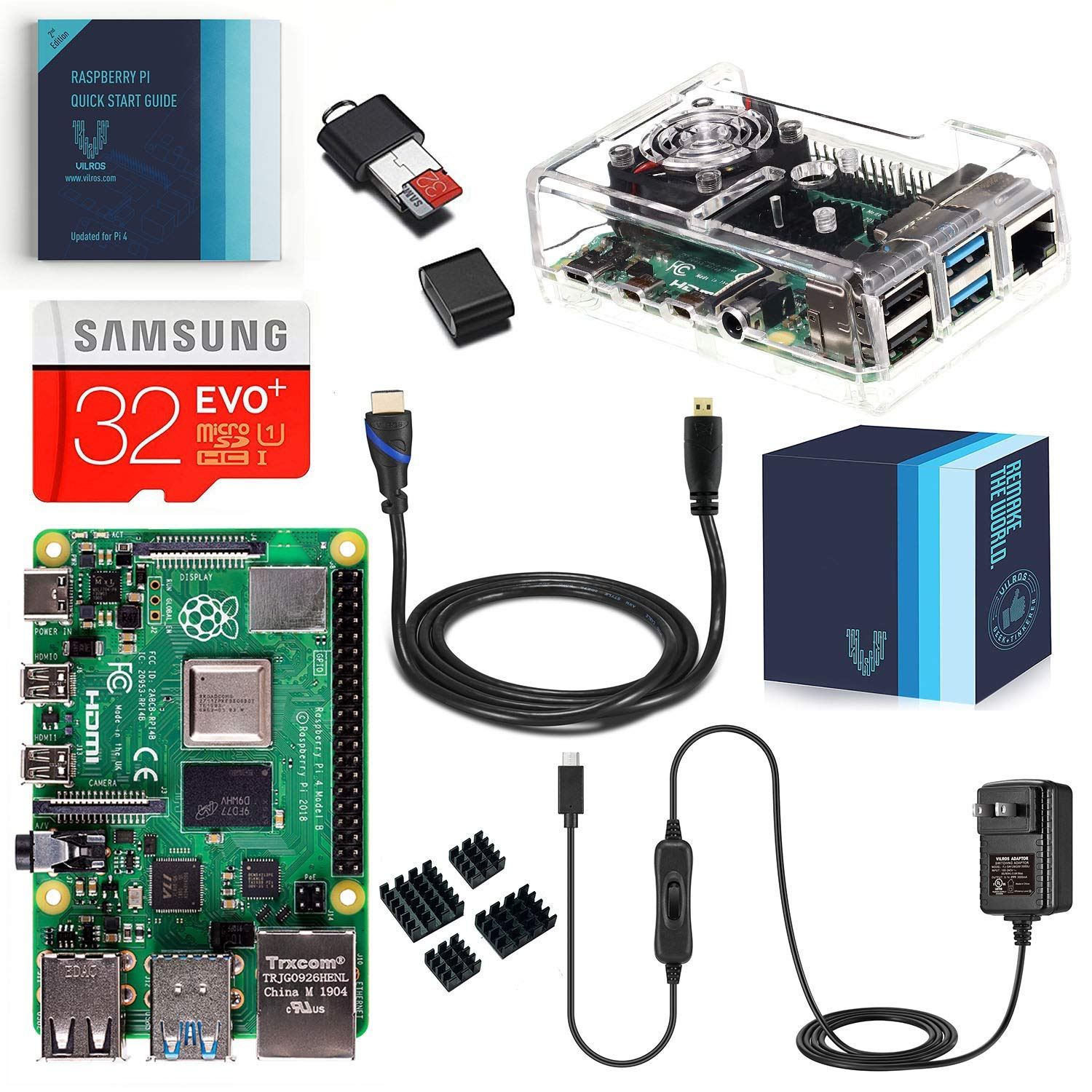 Vilros Raspberry Pi 4 4GB Complete Kit with Clear Transparent Fan Cooled Case (4GB)