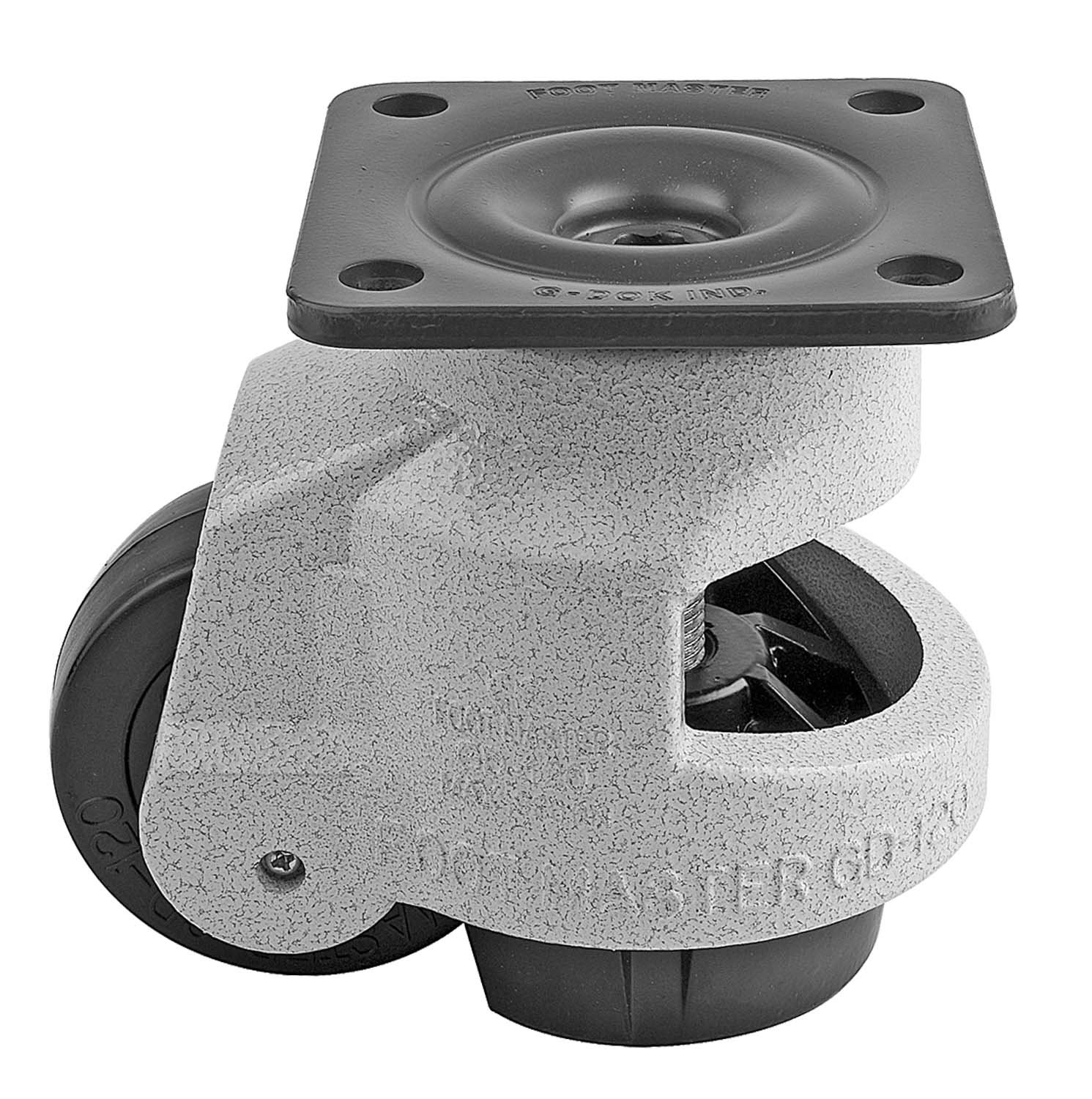 FOOTMASTER GD-120F Nylon Wheel and Aluminum Pad Leveling Caster, 2200 lbs, Top Plate 3 3/4'' x 3 3/4'', Bolt Holes 2 3/4'' x 2 3/4'', Ivory Finish