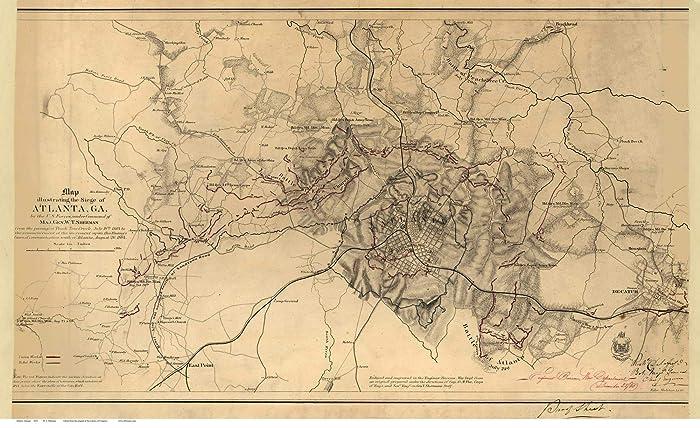 City Map Of Atlanta Georgia.Amazon Com Atlanta Georgia 1864 Civil War City Map By W T