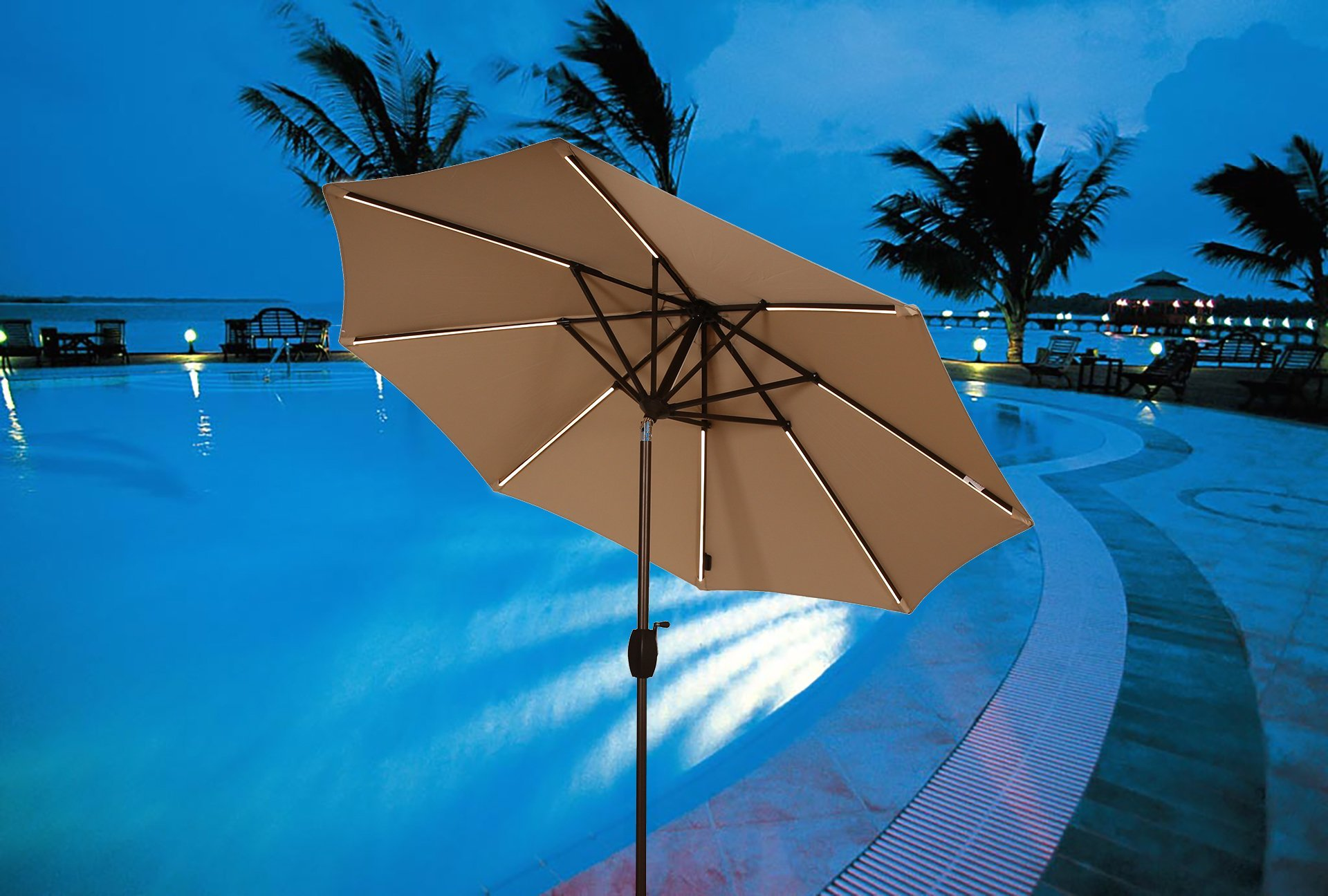 Ulax Furniture 9 Ft Solar Powered LED Lights Patio Umbrella Aluminum Outdoor Market Umbrella with Tilt and Crank system, Air Vent, 100% Polyester, Beige by Ulax furniture (Image #4)