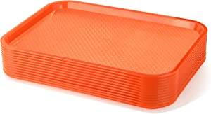 New Star Foodservice 24630 Orange Plastic Fast Food Tray, 12 by 16-Inch, Set of 12