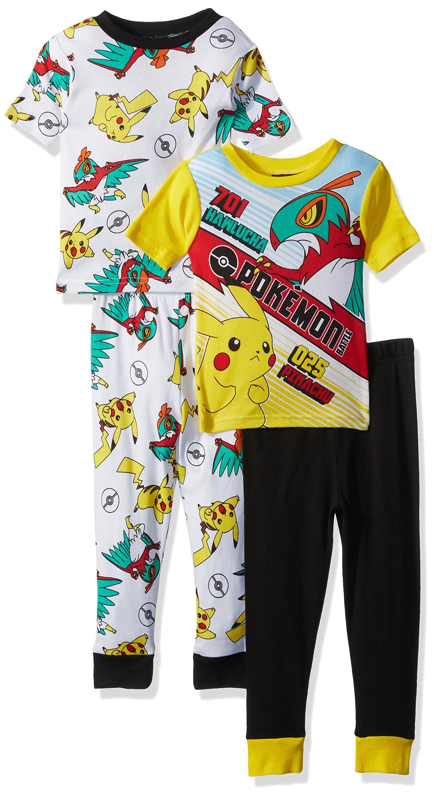 Pokemon Boys' Big Boys' Pikachu 4-Piece Cotton Pajama Set, Yellow/Black, 8