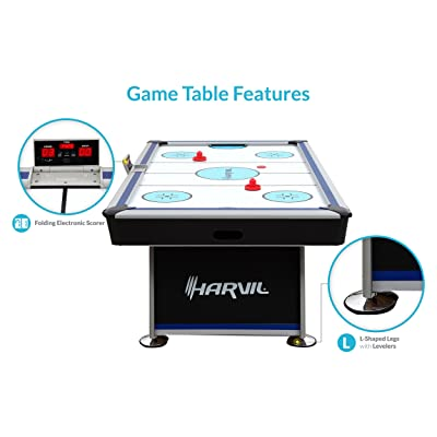 Harvil 7 Foot Air Hockey Table Full Size for Kids and Adults with Powerful Dual Electric Blowers, Paddles and Pucks - 2