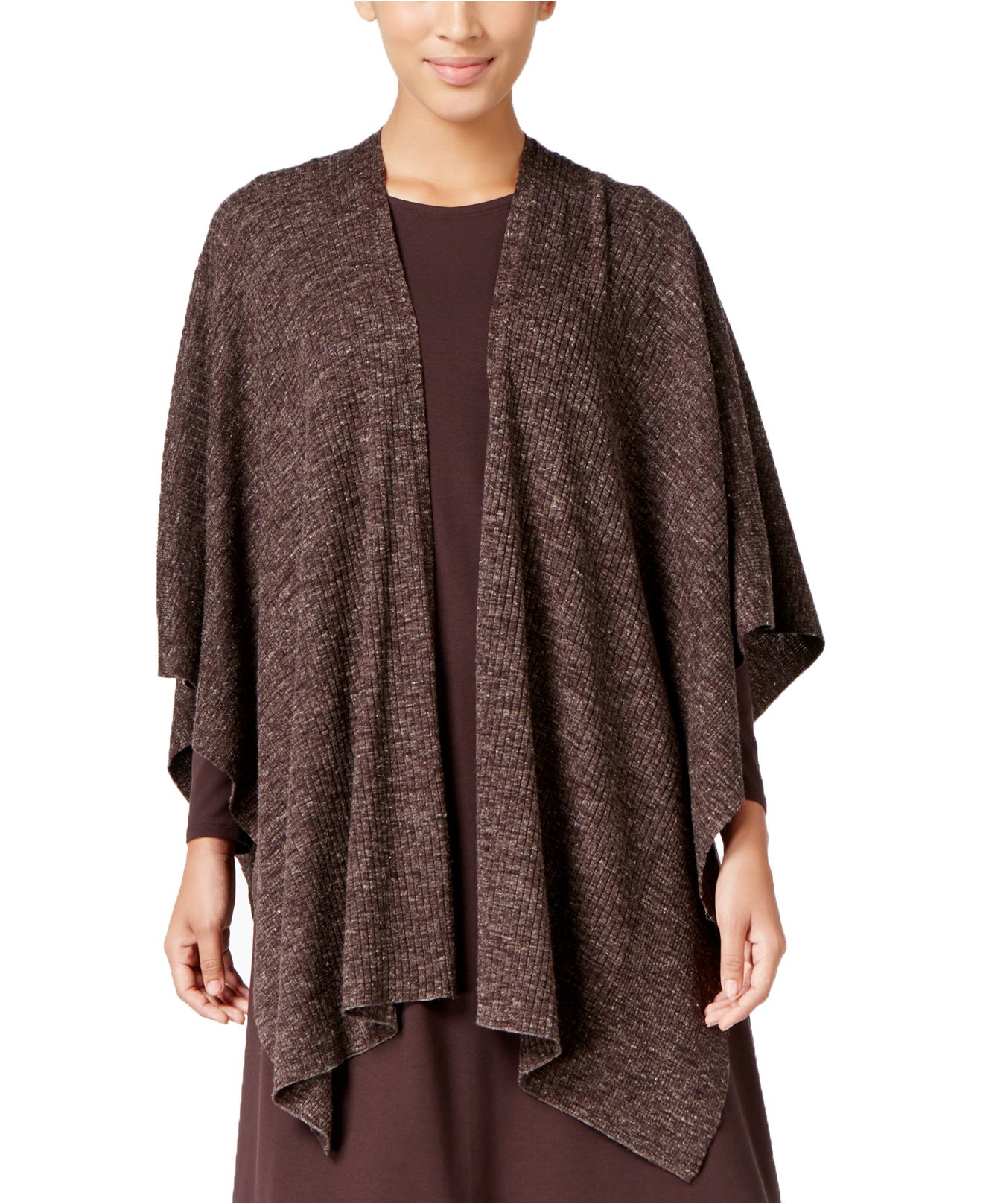 Eileen Fisher Women's Open-Front Wool-Blend Poncho (One Size, Clover)