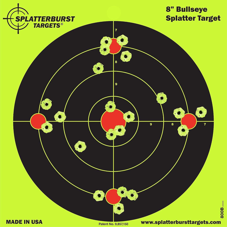 50 unidades - Splatterburst 20,3 cm Bullseye Objetivo de disparo - Vea fácilmente los brillantes agujeros de bala fluorescentes - Excelente para todas las armas de fuego, armas, rifles, pistolas y pistolas de aire. Splatterburst Targets Inc