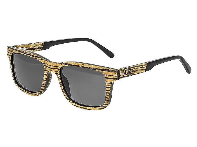 518a3fff3 Earth Wood Tide Wood Sunglasses Polarized Wayfarer, Brown Stripe//Black 51  mm 1