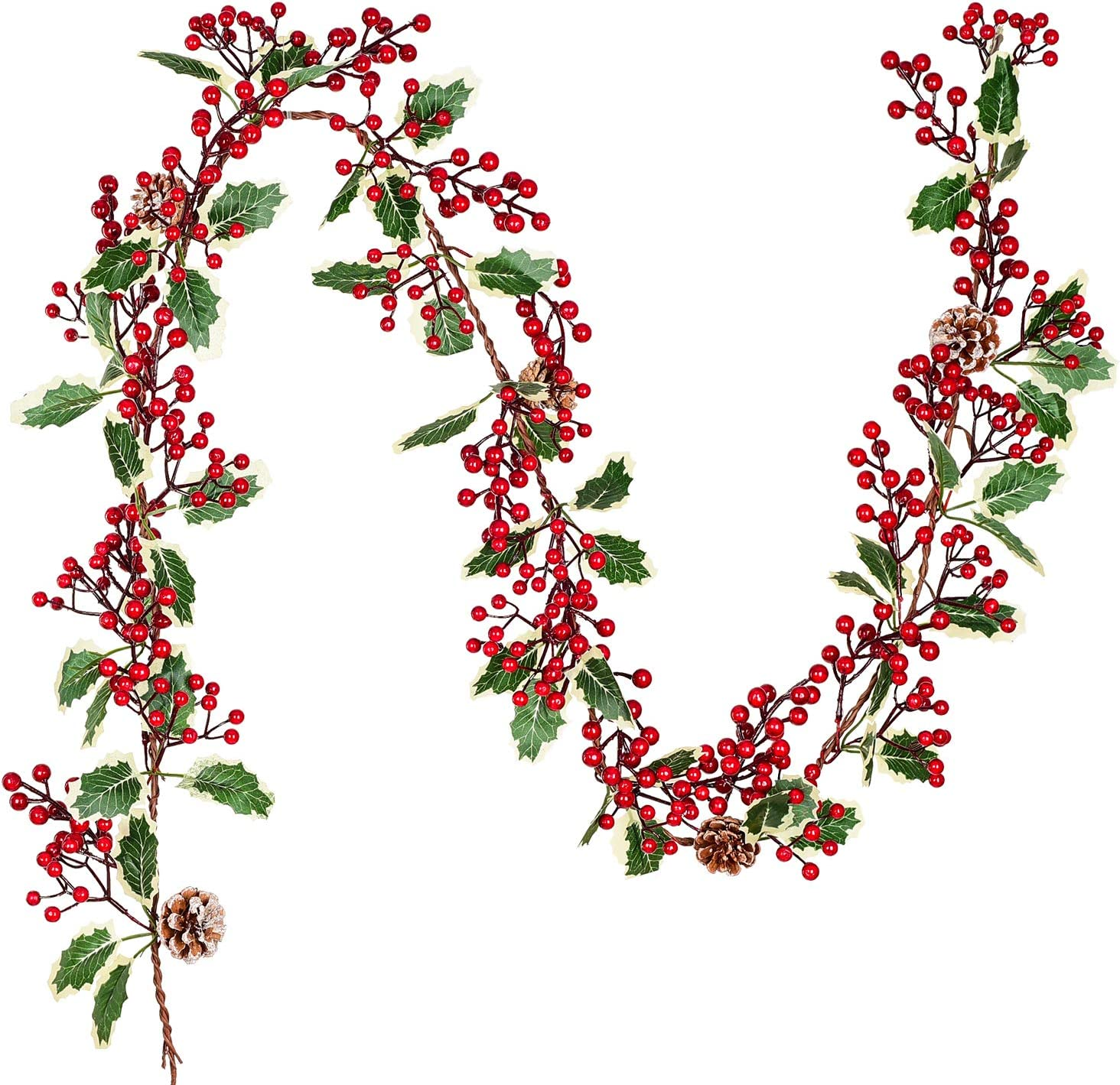 DearHouse 7FT Red Berry Christmas Garland with Pine Cone Garland Artificail Garland Indoor Outdoor Garden Gate Home Decoration Lights for Winter Holiday New Year Decor