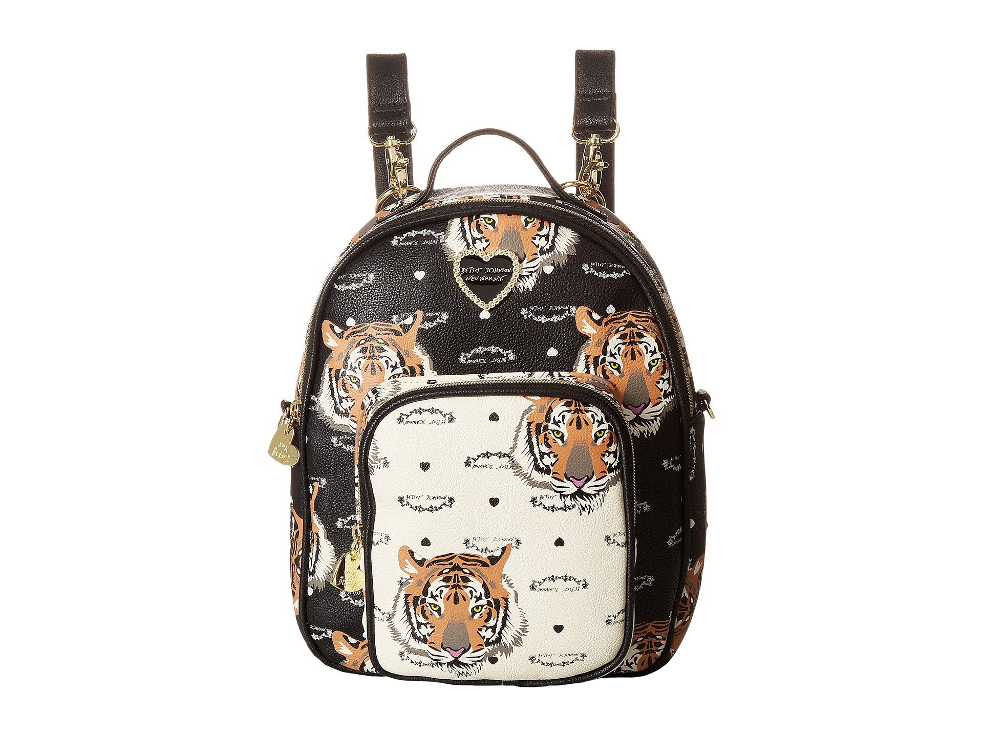 Betsey Johnson Tiger Mini Convertible Travel Luggage Purse Backpacks Tote Bag - Black/Cream