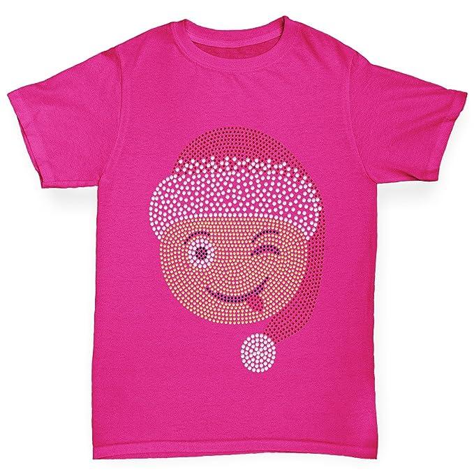 TWISTED ENVY Navidad de la chica guiño cara Emoji para camiseta Rosa rosa X-Small
