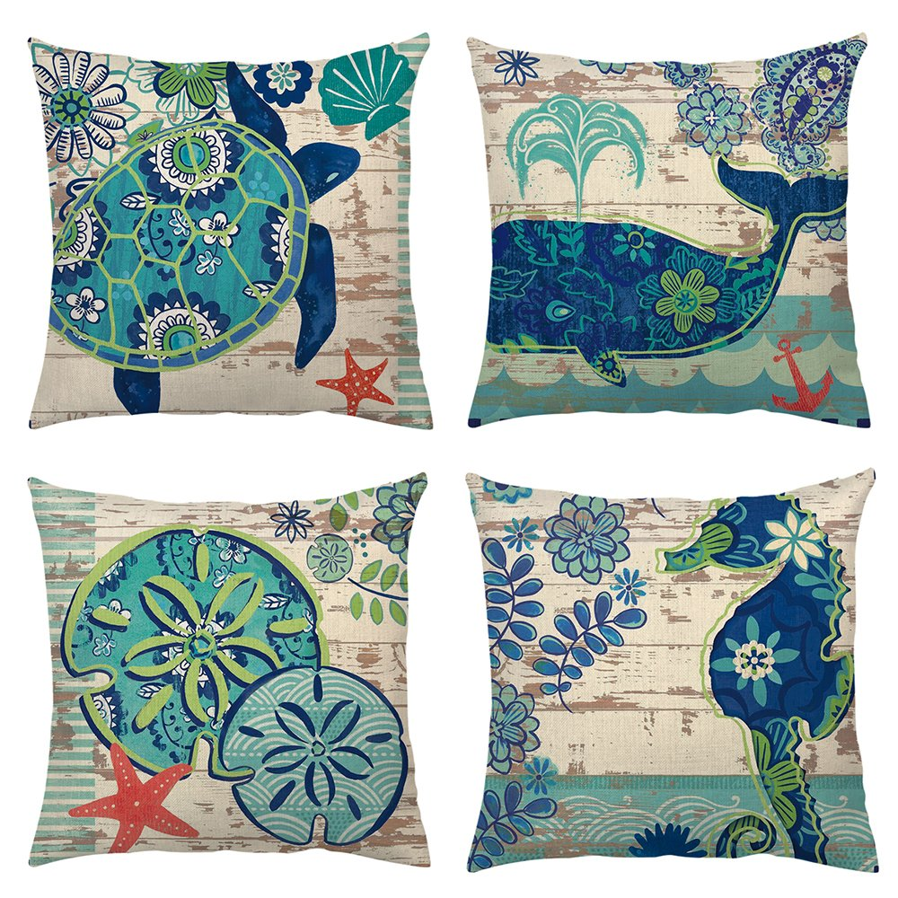 "4 Pack Decorative Throw Pillow Case Ocean Marine Animal Set Outdoor Beach Decorative Sofa Bench Cushion Covers Coastal Theme 18""x 18"" burlap (Sea turtle,Seahorse,Whale,Jellyfish)"