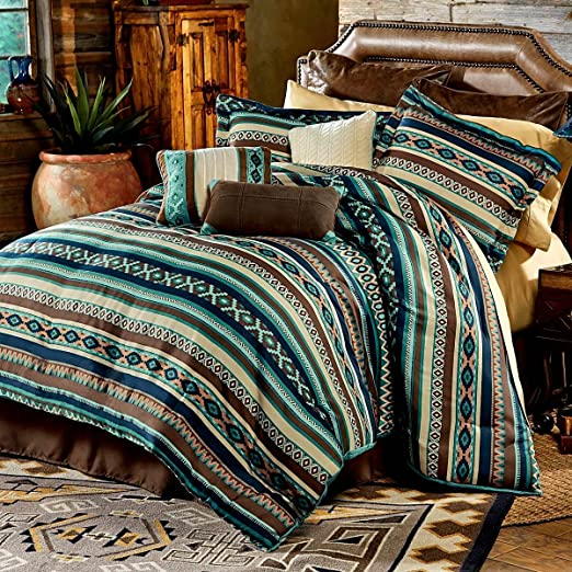 Southwest Comforter Set King Size Turquoise Native American 7 Piece Bedding New